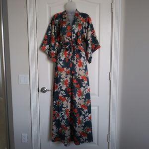 Aakaa Womens Dress Red Floral Kimono Long Maxi Tie